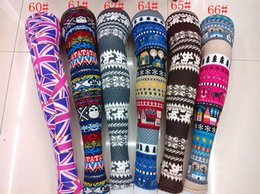 50pc Snowflake Christmas deer Leggings Graffiti Printed Leggings cashmere knit cotton leggings spring
