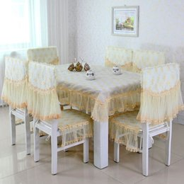 Wholesale European top grade table cloth lace embroidery water soluble chair cushion chair cover table cloth chair cushion sets
