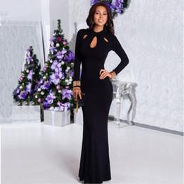 Wholesale Sexy Ladies Black Floor_Length Evening Prom Dress Crew Neck Keyhole Maxi Bodycon Dress Long Sleeve Christmas Party Dress HMF0351