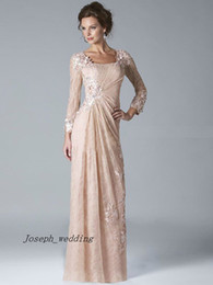 Wholesale New Fashion Lace Evening dresses Appliqued Floor Length long sleeve Evening Women Party gown