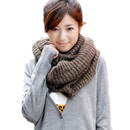 Wholesale ONLY Warm Soft Coffee Mohair Open Knit Handmade Circle Scarf Elegant Neckerchief