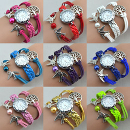 Hot New Infinity Watch Weave Bracelet Charms Watch Lady Wrap Love Leather Wrist Watches Wisdom Tree Charms Mix Color
