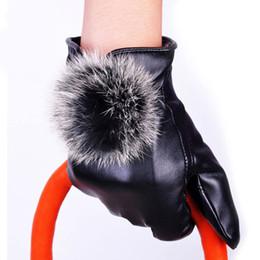 New 2014 1 Pair Fashion Women Leather Autumn Winter Warm Rabbit Fur Mittens Gift Dave