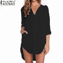 Wholesale-Blusas Femininas 2016 Sexy Women Sheer White Shirts Dress Long Sleeve Pocket Casual Blouse Tops Plus Size Mini Dress