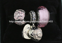 S925 Sterling Silver Charms and Murano Glass Bead Set with Charm Box Fits European Pandora Jewelry Charm Bracelets-Su018