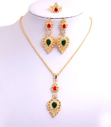 Free shipping 14k Yellow Gold Filled Women's Austrian Crystal Chain Colorful Heart Necklace Earrings Ring Wedding Jewelry Sets