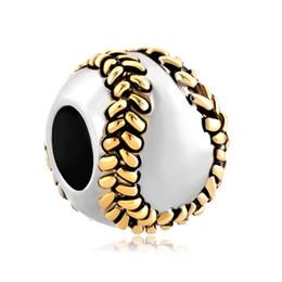2 toned plating baseball Sports big hole metal slider bead European spacer charm fit Pandora Chamilia Biagi charm bracelet