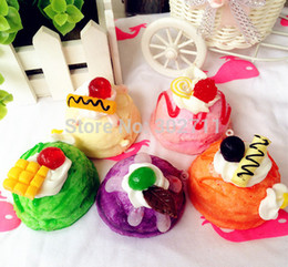 Wholesale Ice Cream Scoop Squishy Cell Phone Charm Bag Charm Phone Straps Bag Pendant Fruit Cream Toppings