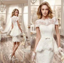 Elegant White Short Wedding Dresses Peplum Tiered Short Lace Sleeve Wedding Dress Sheer Neck Wedding Gowns Trumpet Short Bridal Gowns