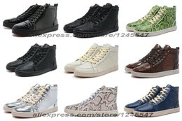 Wholesale Men Women Python Red Bottom Shoes High Top Lace up casual shoes Designer Brand Winter Casual Shoes