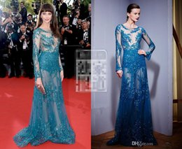 Wholesale 2015 zuhair murad dresses Frederique Bel Red Carpet Lace Sheer long Sleeve Cannes Film Celebrity Gowns Stunning blue evening gowns