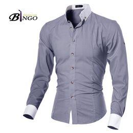 Wholesale Bingo M XXL size European amp American Unique design men s cultivating long sleeved shirt collar adjustable sleeve cardigan