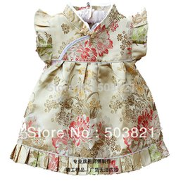Wholesale-2015New Arrival Baby Girl Silk Cheongsam Baby Big Peony Tang Suit Red Girl Dress + Pants Set Free Shipping