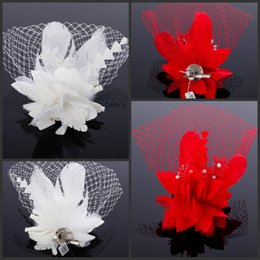 Custom Made Feathers And Bead Embellished Bridal Face Net Hair Accessories Wedding Veils White Or Red With Pearl Bead Flower Cheap