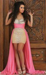 Wholesale Sequin Ruched Rhinestone Prom Dress - High Low Plus Size Arabic Prom Dresses 2016 Sheer Jewel Neck Long Sleeves Rhinestones Beaded Hot Pink Chiffon Dubai Designer Evening Gowns