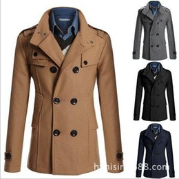 Wholesale Casual Double Breasted Coat Men British Style Stand Collar Slim Fit Long Trench Coat Men Mens Wool Pea Coat Manteau Homme