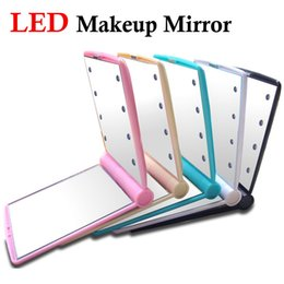 50pcs lot Folding Portable mirrors Fashion mirror LED makeup mirror Pocket makeup mirror Lady Makeup Cosmetic TOOL Free shipping
