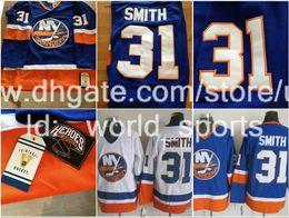 Wholesale CCM New York Billy Smith Mike Bossy Denis Potvin Butch Goring Bryan Trottier Blue Vintage Islanders Nhl Ice Hockey Jersey ny