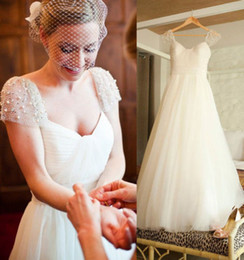 Gorgeous Wedding Dresses Capped Sleeve Pearls A line Pleats Tulle Bridal Dress Custom made Sleeveless Open Back Church Bridal Wedding Dress
