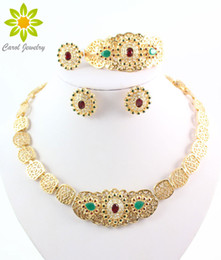 New Style Top Quality African Costume Necklace Jewelry Sets Vintage Gold Plated Necklace Fashion Rhinestone Wedding Bridal Jewelry sets