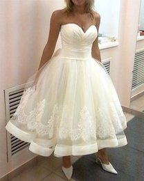 2019 Cheap Ankle Length Wedding Dresses Sweetheart Lace Tulle Satin A-Line Lovely Bridal Gowns Lace up Back Custom Made