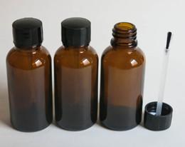 wholesale 10 pcs 30ml Amber Glass Brush Bottle, 30ml Amber Glass Bottle, Amber Essetial Oil Bottle, Serum Brush