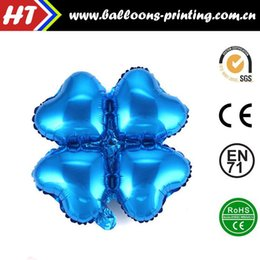 Wholesale 50pcs alumnum balloons Festival party supplies Cheap whole network Blue Clover aluminum balloons heart shaped columns arches furnished fou