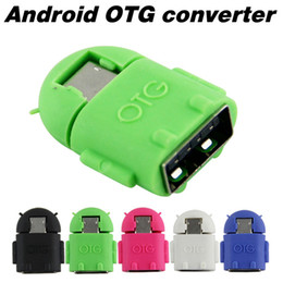 Promotion otg tablet pc Android Robot Shape Micro Mini USB OTG Adaptateur Câbles pour Tablet PC MP3 / MP4 Smart Phone Adaptateur Convertisseur USB OTG Cheap Sale