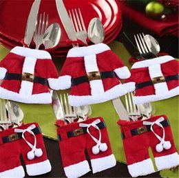 100pcs new arrive Santa Suit tableware Christmas Silverware tableware Holder Pockets 1lot=1pcs Pants + 1pcs Jacket for Christmas gift D359