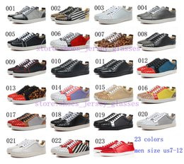 Wholesale 2014 new black white red genuine leather shoes leopard print spiked rivets flat low top red bottom shoes for men size