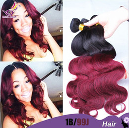 7A ombre burgundy hair body wave 1b 99j ombre Malaysian Virgin hair body wave hair ombre weave 4 pcs lot wet and wavy 100 human hair weaving