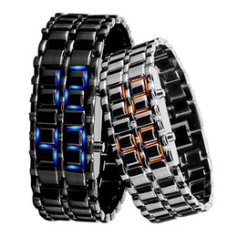 Wholesale Abco Tech Lava Style Iron Samurai Black Bracelet LED Japanese Inspired Watch RED BLUE PACK