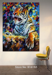 Tiger Wild Animal Oil Painting Palette Knite Picture Mural Art for Home Living Office Hotel Wall Decoration