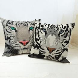 2016 Hot Sale Pillow Cover Pure Cotton Linen Home Bed Decorative Vintage Throw Pillow Cases White Tiger LP012202