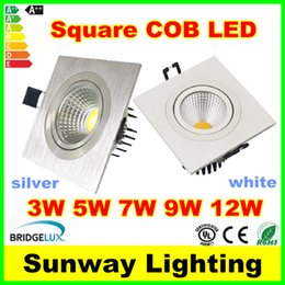 Wholesale Single 5w Led Light - Square COB LED Recessed Ceiling Down Lights Silver White 3w 5w 7w 9w 12w single head ceiling spotlights downlight led lighting SAA UL