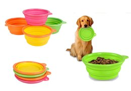 Wholesale New Environmental Protection Dog Feeders Multi color Pet Silicone Folding Pet Bowl New Portable Universal Scalable Dogs Bowls DHL Shipping