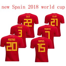 2018 world cup new Spain home red Soccer Jersey Spain soccer shirt world cup MORATA ISCO #20 ASENSIO #15 RAMOS Football uniforms sales
