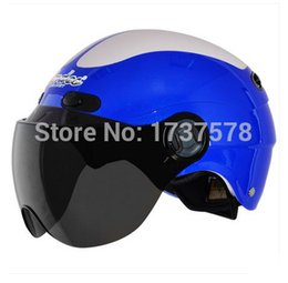Wholesale-Fashion Andes-X-368-I ABS Ultralight Cycling Safety Racing Helm Motorcycle Bright Blue # ivory Helmet & UV Lens Adult For
