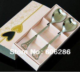 Wedding thank you gifts for guest Loving Hearts Stainless Spoon Set Bridal Shower Favors Souvenirs party giveaways 120sets wholesale