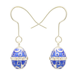 Enamel Jewelry Silver or Gold Plating Small Faberge Egg Charm Dangle Dorp Earring for Easter Day