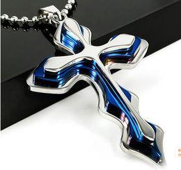 Croix d'argent en Ligne-Refroidir Silver Blue Unisex Hommes Stainless Steel Cross Pendant chaîne gratuite Collier Accessoires