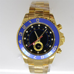 Luxury Blue Bezel Black Face Male Golden Mens Stainless Steel Wristwatches Green Box Paper Wholesale Modern Men Automatic Mechanical Watches