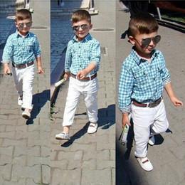 Wholesale Las últimas chicos diseño bebé de los equipos del resorte del otoño del verano camisas mangas largas pant belt niños cabritos del juego de la blusa de la tela escocesa de la ropa de algodón