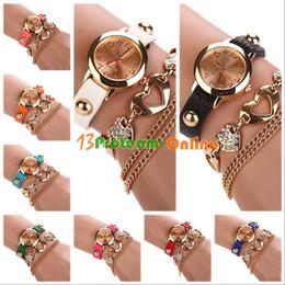 Compra Online Cuero reloj pulsera corazón-Señora Women de cuero de imitación del Rhinestone forma de corazón de la pulsera del brazalete del reloj del dial