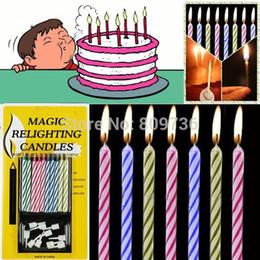 20pcs mágicos reencienden Velas para el truco de cumpleaños de la diversión del partido de la torta de las muchachas del muchacho de la mordaza Juguetes Broma Hacer tonto de abril de envío gratuito ships birthday candle on sale desde velas de cumpleaños barcos proveedores