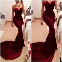 Wholesale Best Selling Unique Designer Burgundy Mermaid Prom Dresses Women Long Train Flattered Fitted Red Wine Velvet Elegant Party Gowns