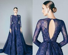 Wholesale Navy Blue Evening Dresses Lace Formal Elie Saab Prom Dresses Gowns With A Line Lace Applique Beads Crew Neck Long Sleeves Cheap