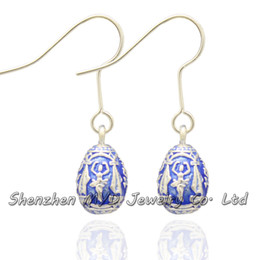 Happy Easter Day holiday jewelry women color enameled vintage Faberge style mini Easter egg drop earrings Valentines Day gift