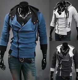 Descuento capas superiores del traje Del ENVÍO LIBRE nuevo Assassins Creed 3 Desmond Miles capucha Top Coat Jacket cosplay, asesinos estilo credo chaqueta de lana con capucha,