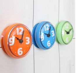 Wholesale Mini Waterproof Shower Bathroom Kitchen Wall Suction Clock Watch Living Room Clock Rubber Modern Fashion Design